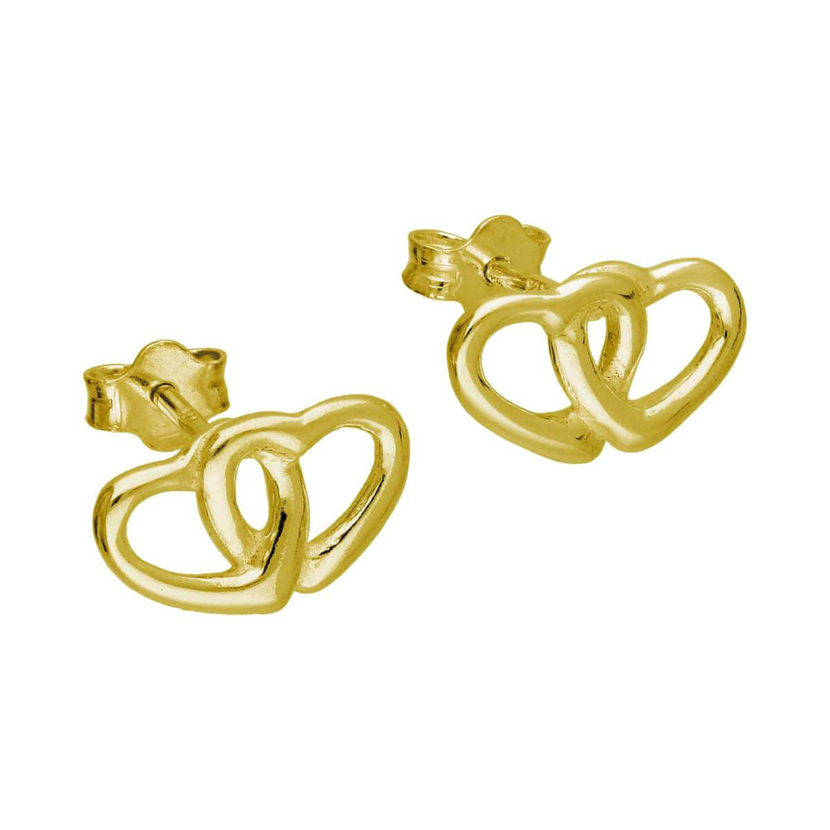 Gold Plated Sterling Silver Double Heart Stud Earrings