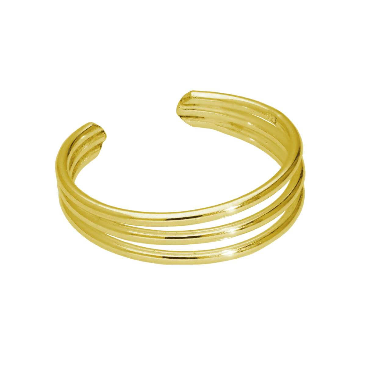Gold Plated Sterling Silver Triple Wire Open Adjustable Ring