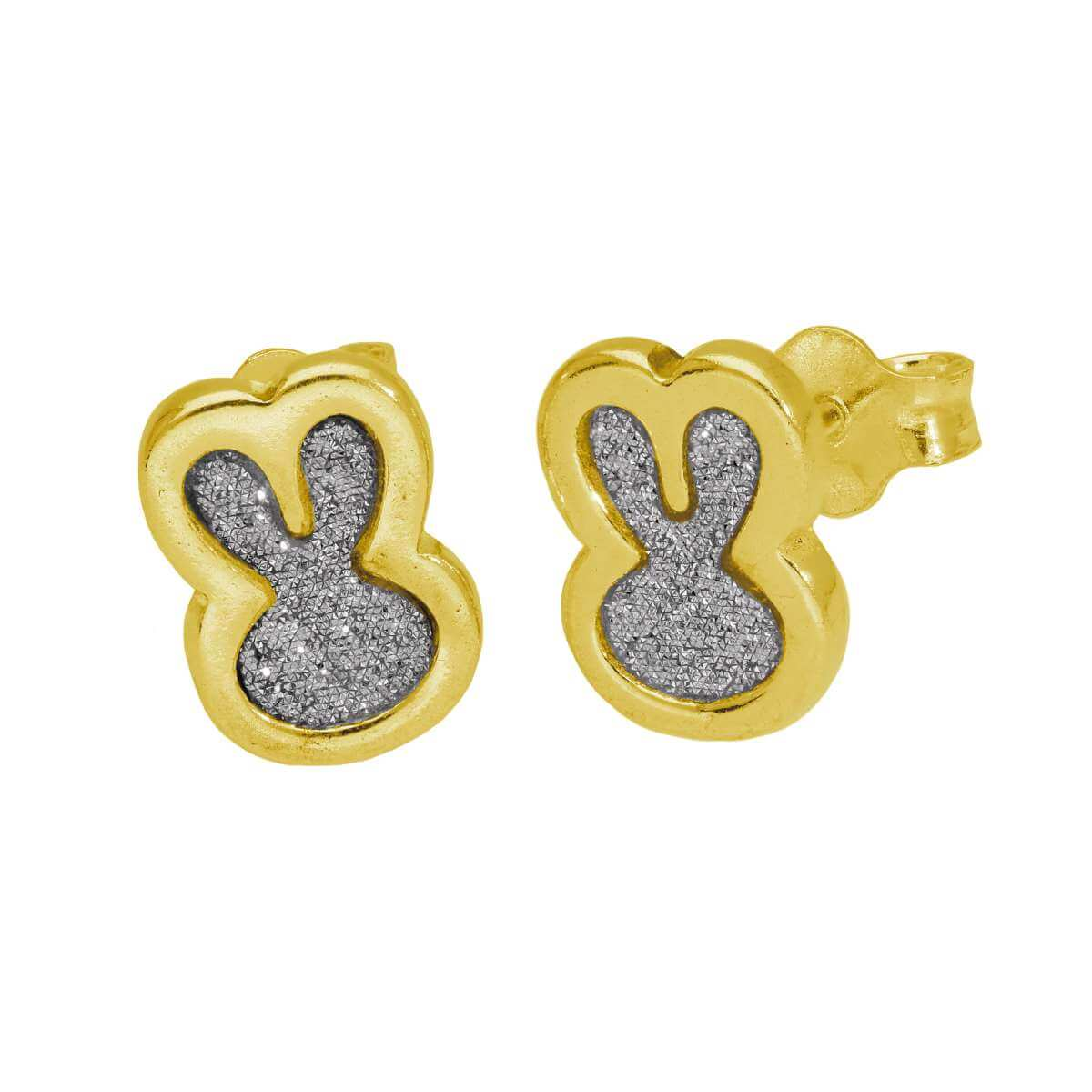 Gold Plated Sterling Silver Frosted Bunny Ears Stud Earrings
