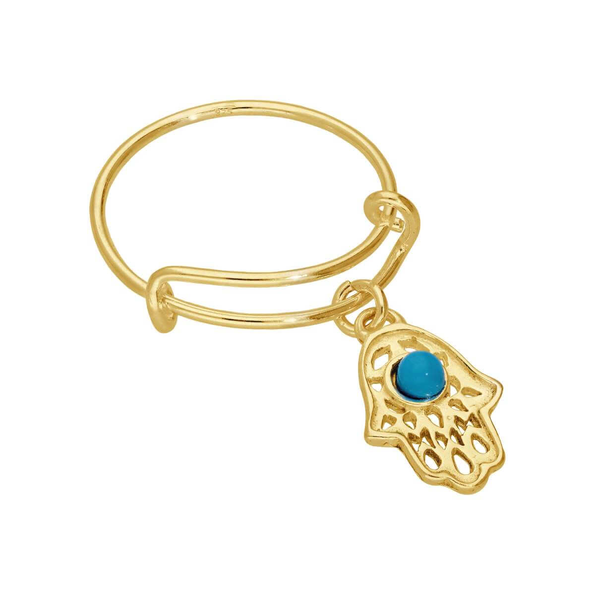 Gold Plated Sterling Silver Hamsa Hand Adjustable Ring