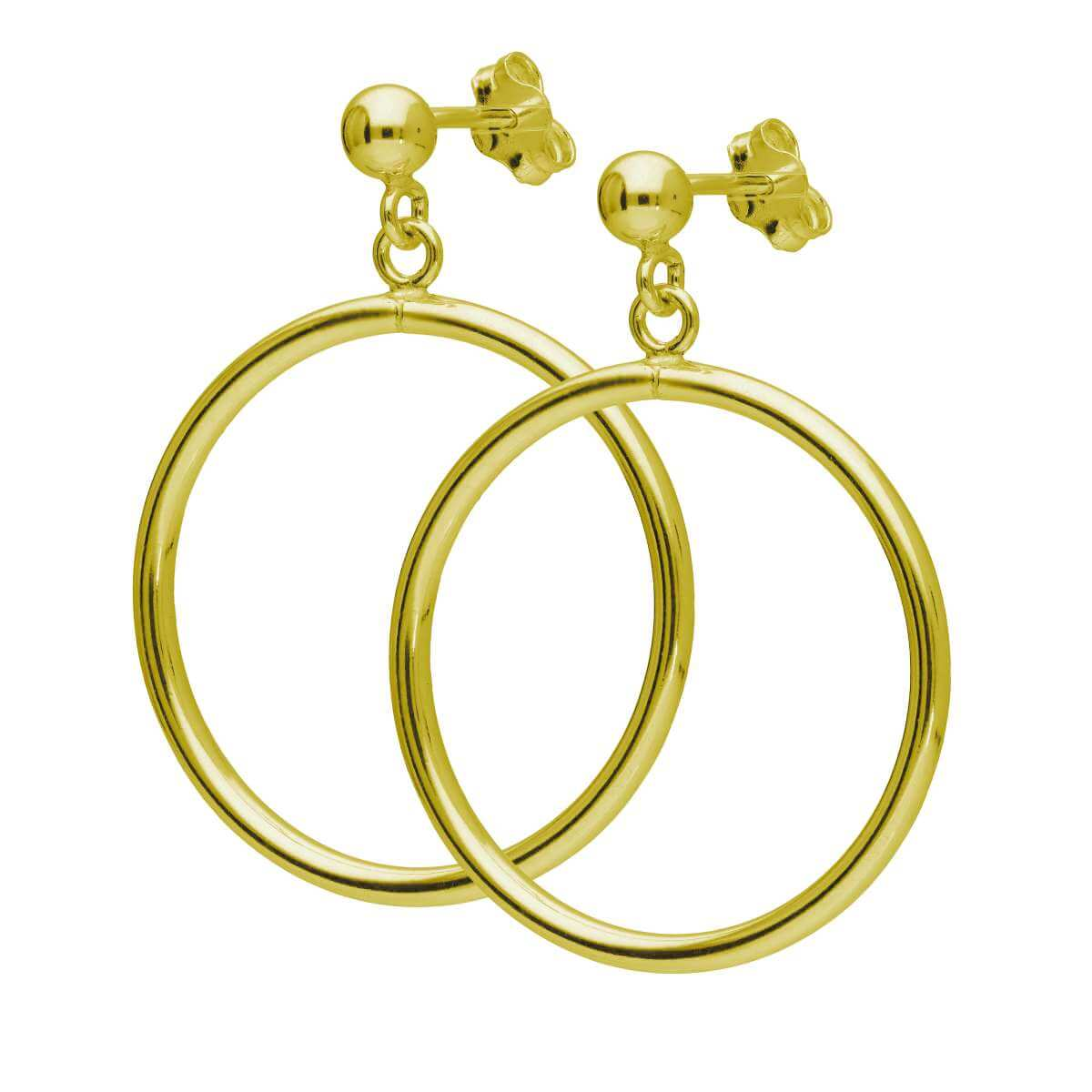 Gold Plated Sterling Silver Circle Ball Stud Drop Earrings
