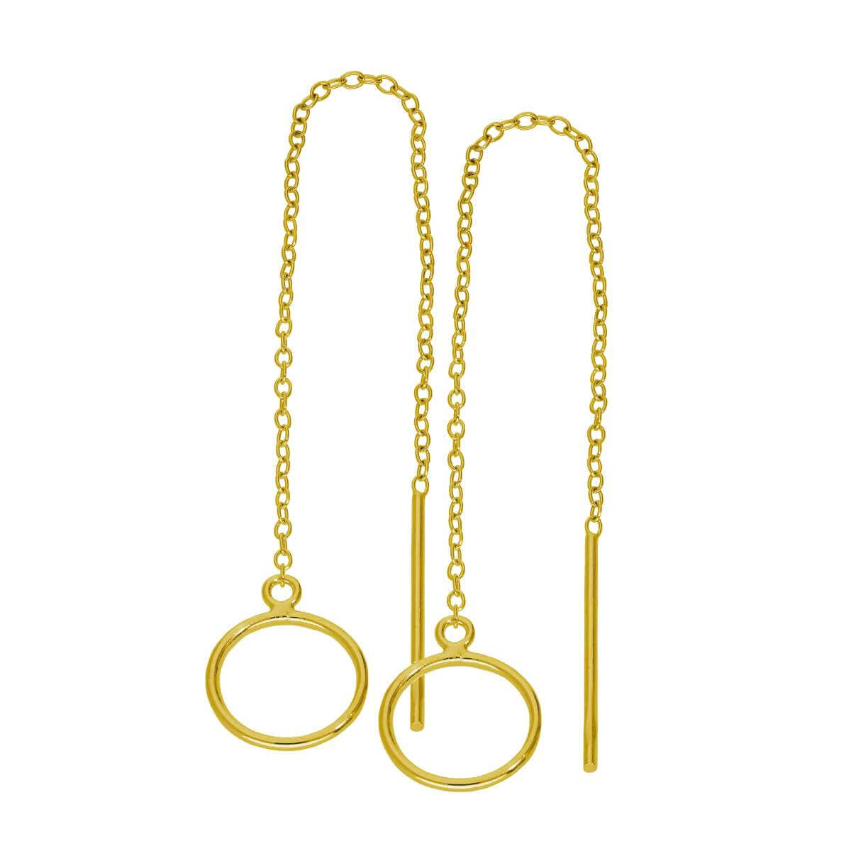 Gold Plated Sterling Silver Karma Circle Pull Through Earrings