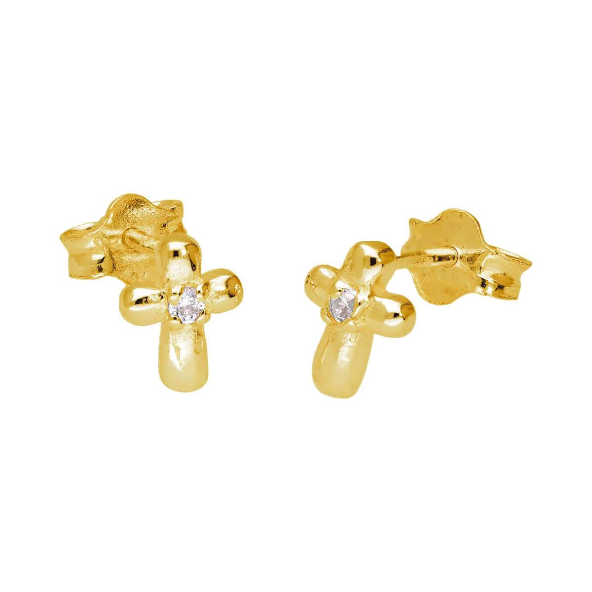 Gold Plated Sterling Silver Tiny Cross CZ Stud Earrings