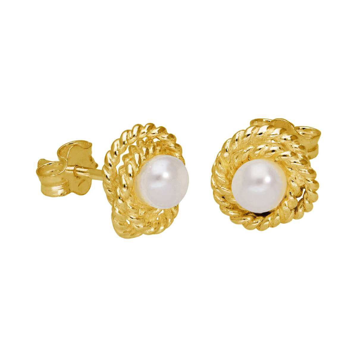 Gold Plated Sterling Silver Beaded Knot Pearl Stud Earrings