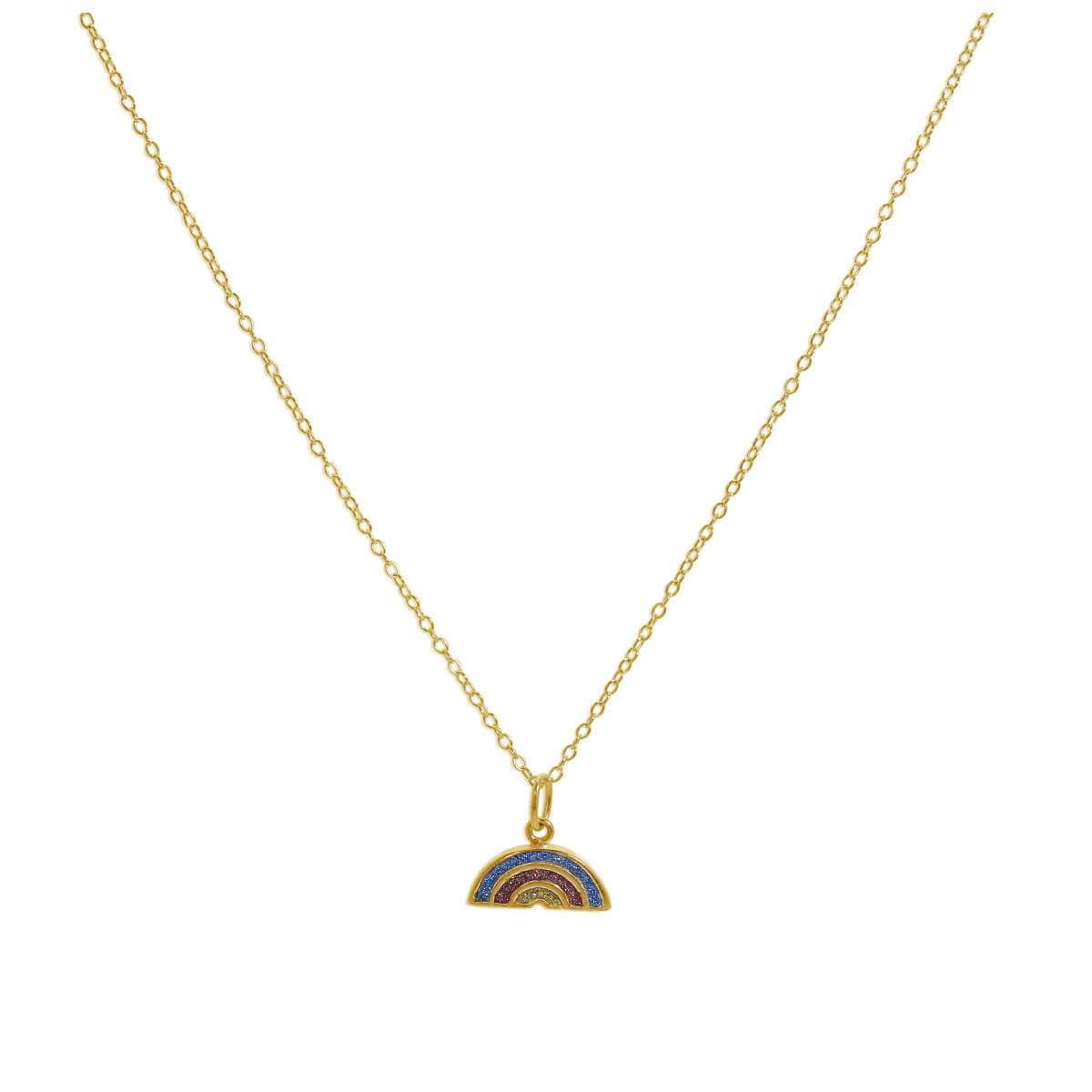 Gold Plated Sterling Silver Frosted Rainbow Necklace