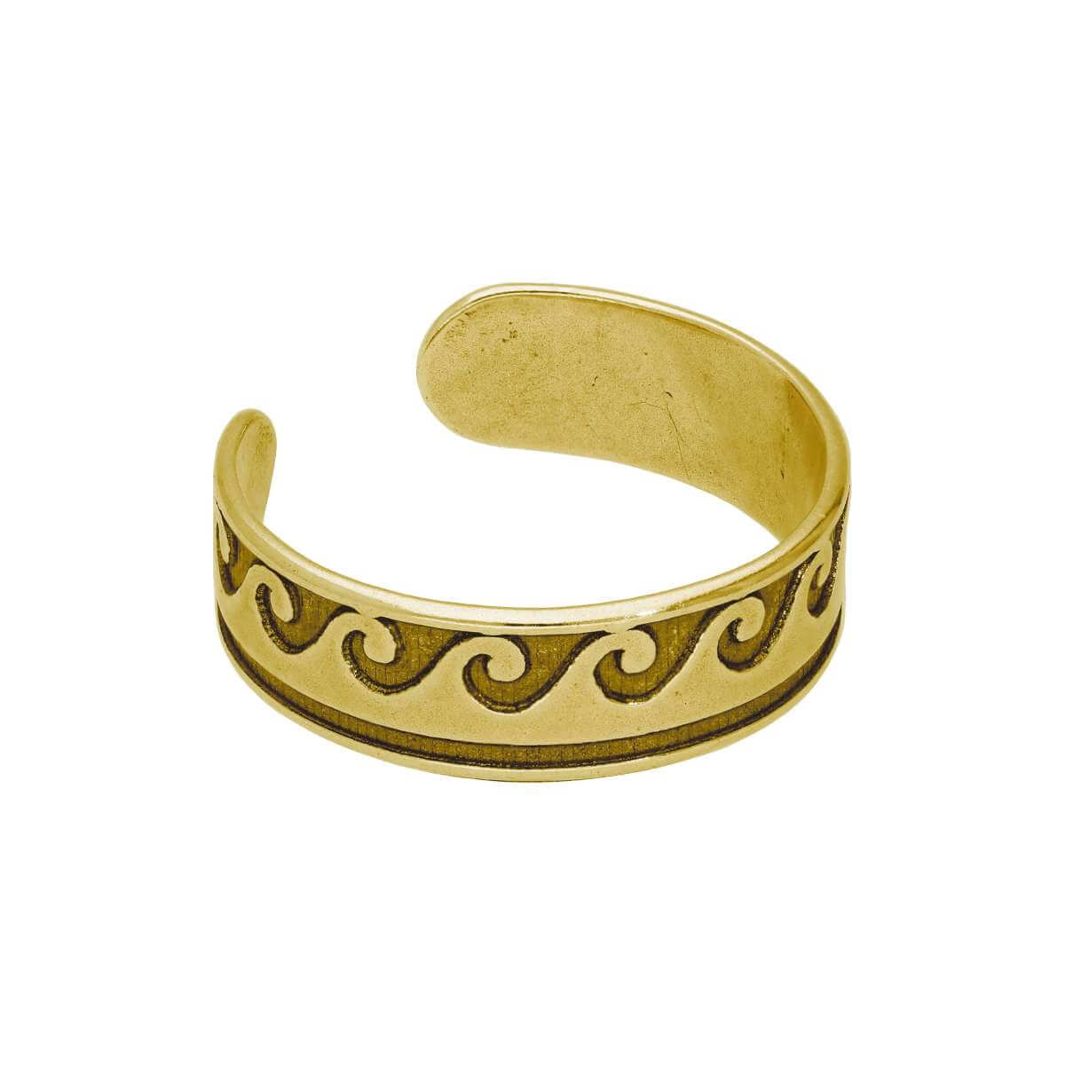 Gold Plated Sterling Silver Waves Oxidised Toe Ring