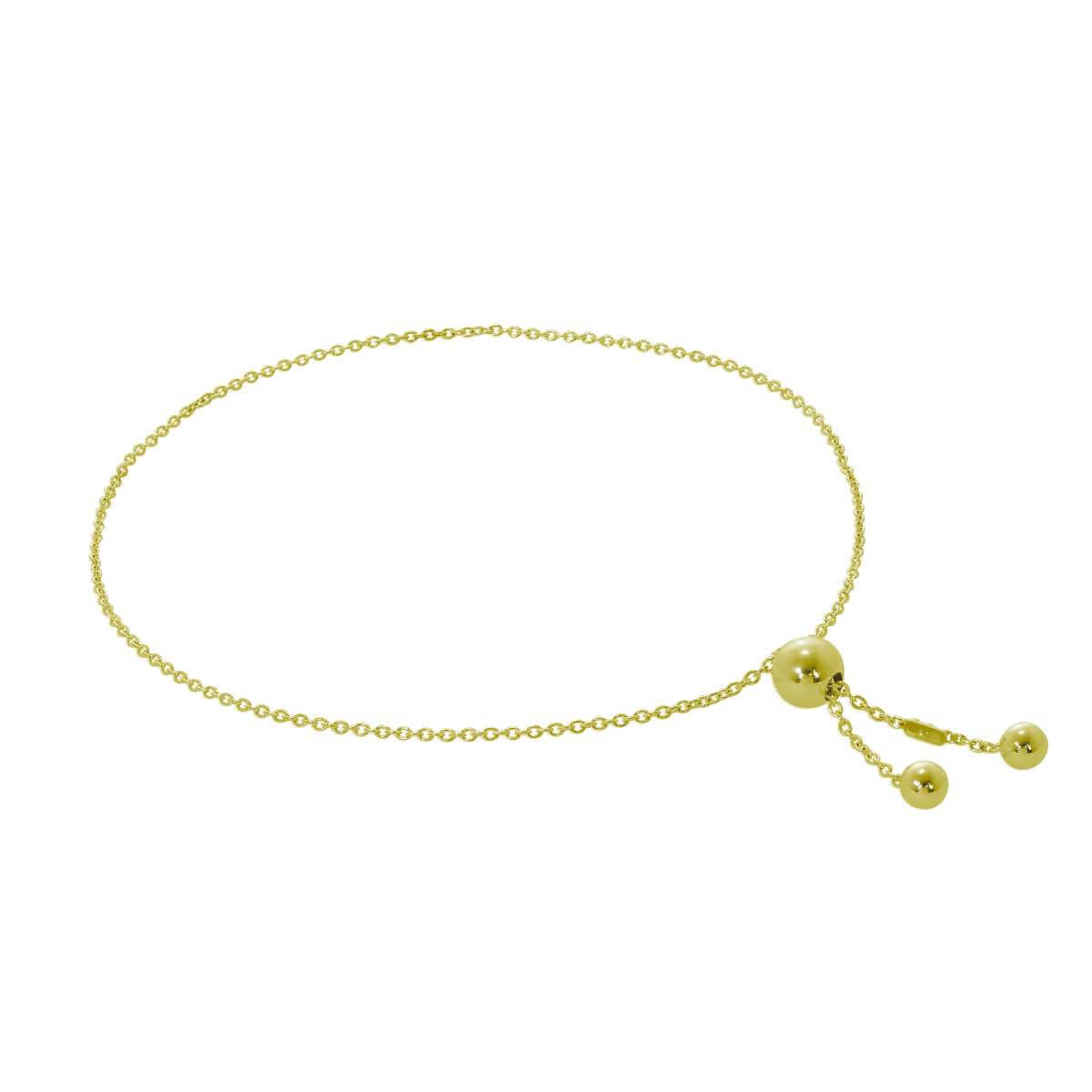 Gold Plated Sterling Silver Slider Ball Adjustable Bracelet