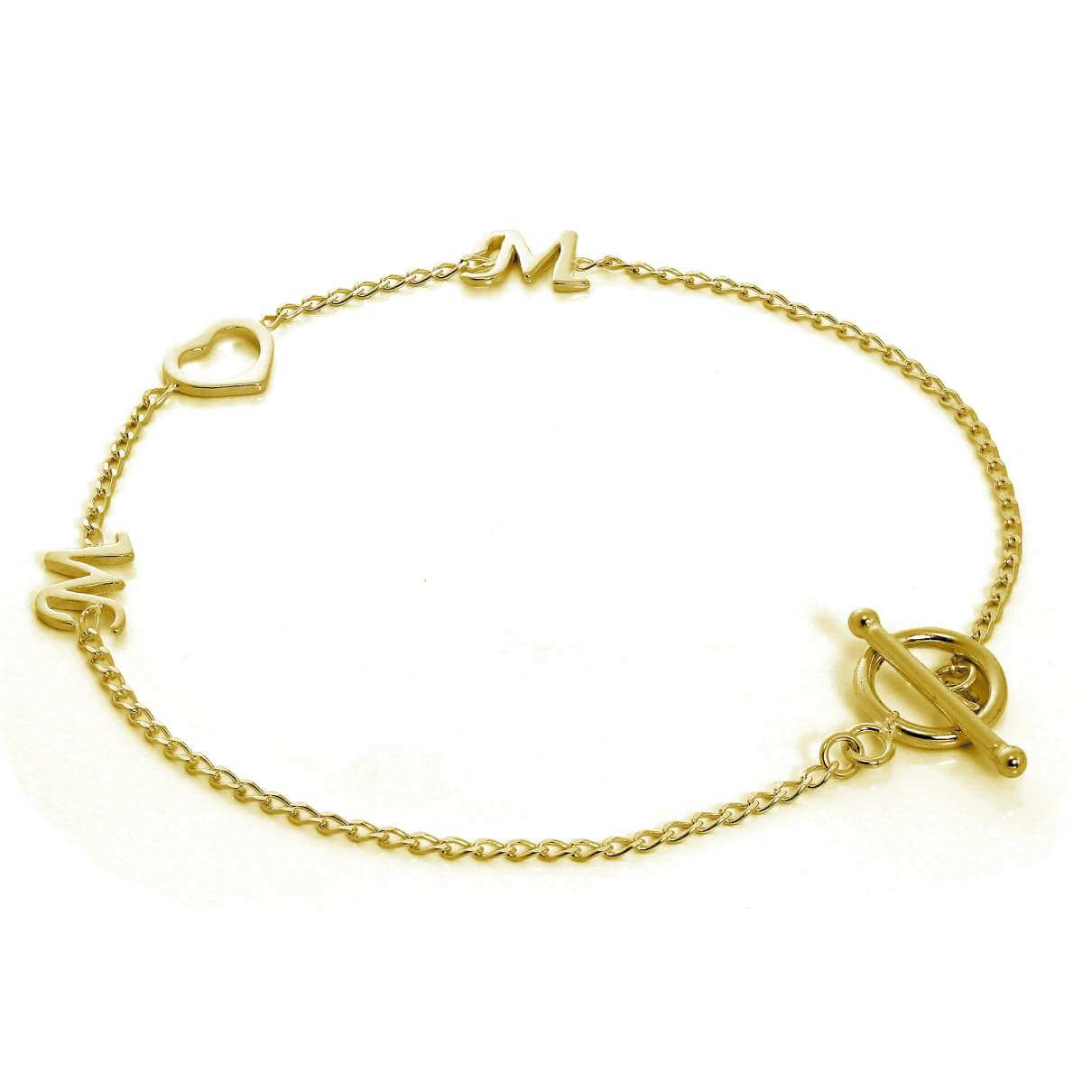Gold Plated Sterling Silver Mum Heart Bracelet