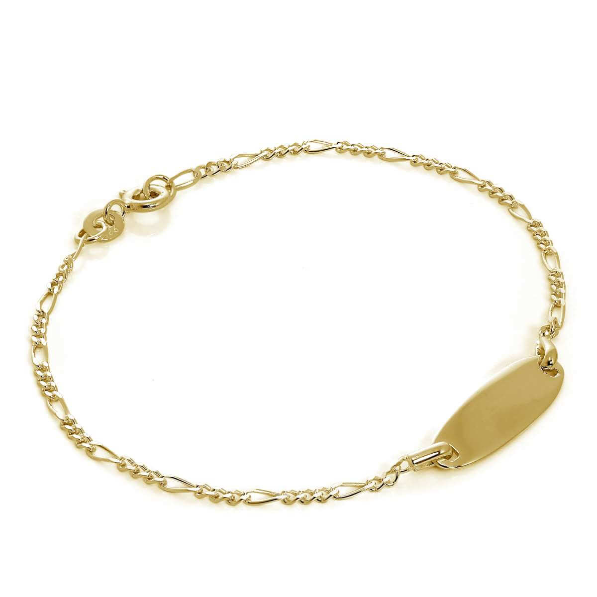 Gold Plated Sterling Silver Figaro Engravable ID Bracelet 7 Inches