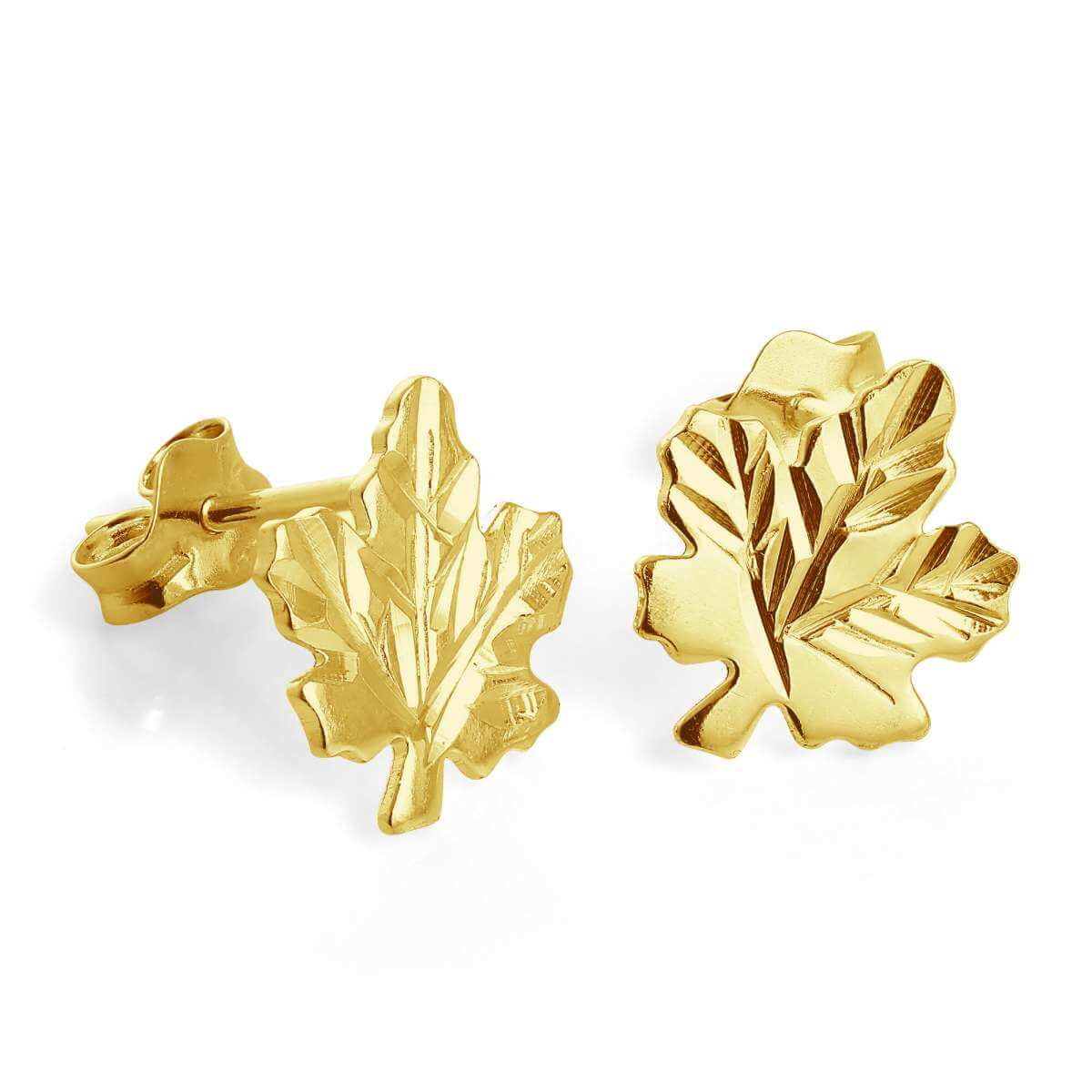 Gold Plated Sterling Silver Maple Leaf Stud Earrings