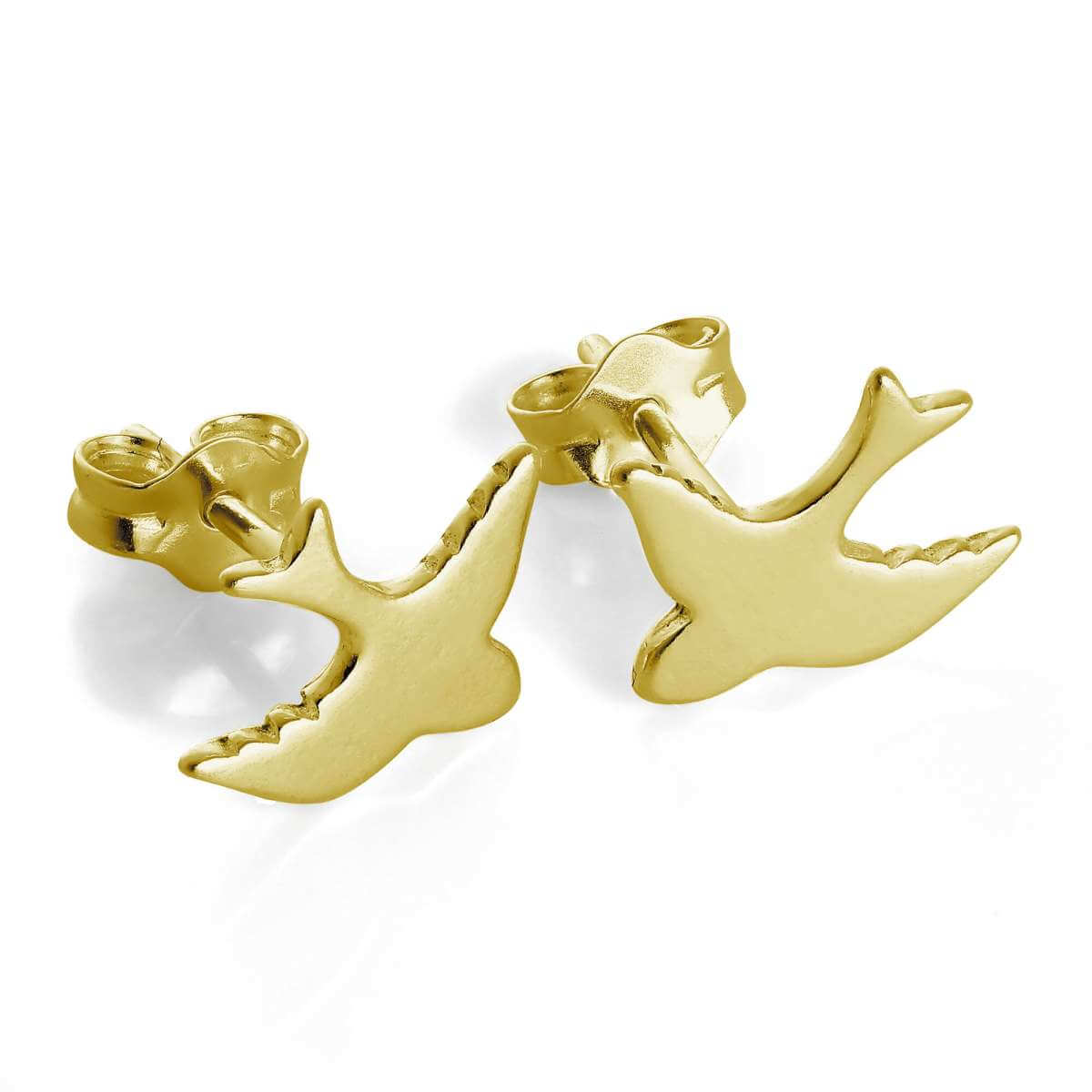 Gold Plated Sterling Silver Swift Bird Stud Earrings