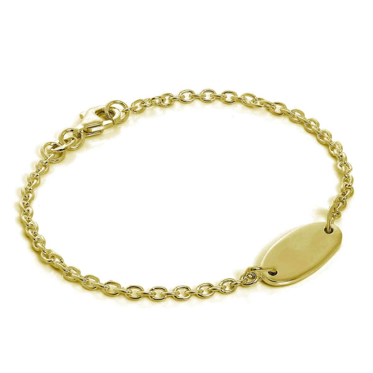 Gold Plated Sterling Silver ID Bracelet 6 Inches
