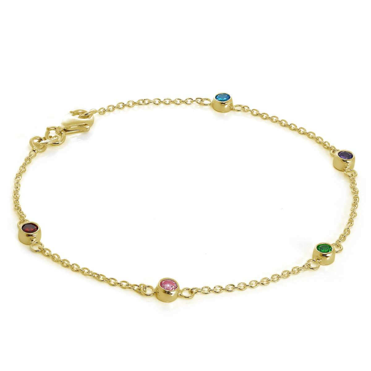 Gold Plated Sterling Silver Multicoloured 4mm CZ Bracelet