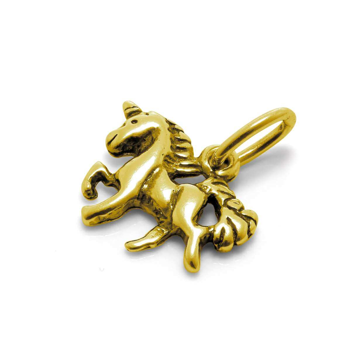 Gold Plated Tiny Sterling Silver Unicorn Charm