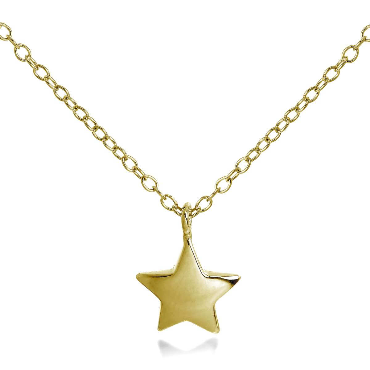 Gold Plated Sterling Silver Star Necklace 18 Inches