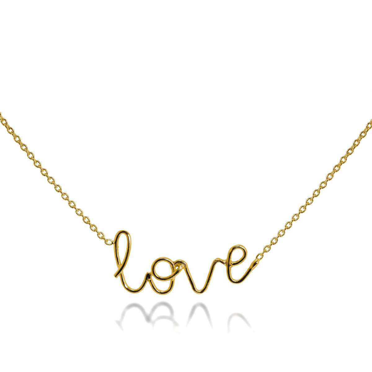 Gold Plated Sterling Silver Love Necklace 16+2 Inches