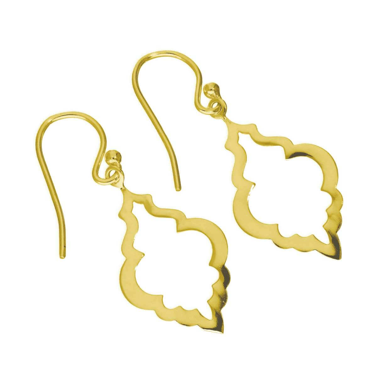 Gold Plated Sterling Silver Open Shell Shape Drop Earrings