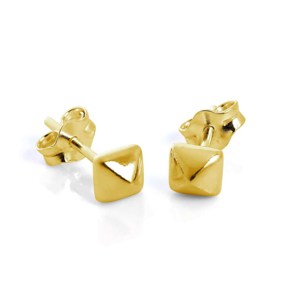 Gold Plated Sterling Silver Square Pyramid Stud Earrings