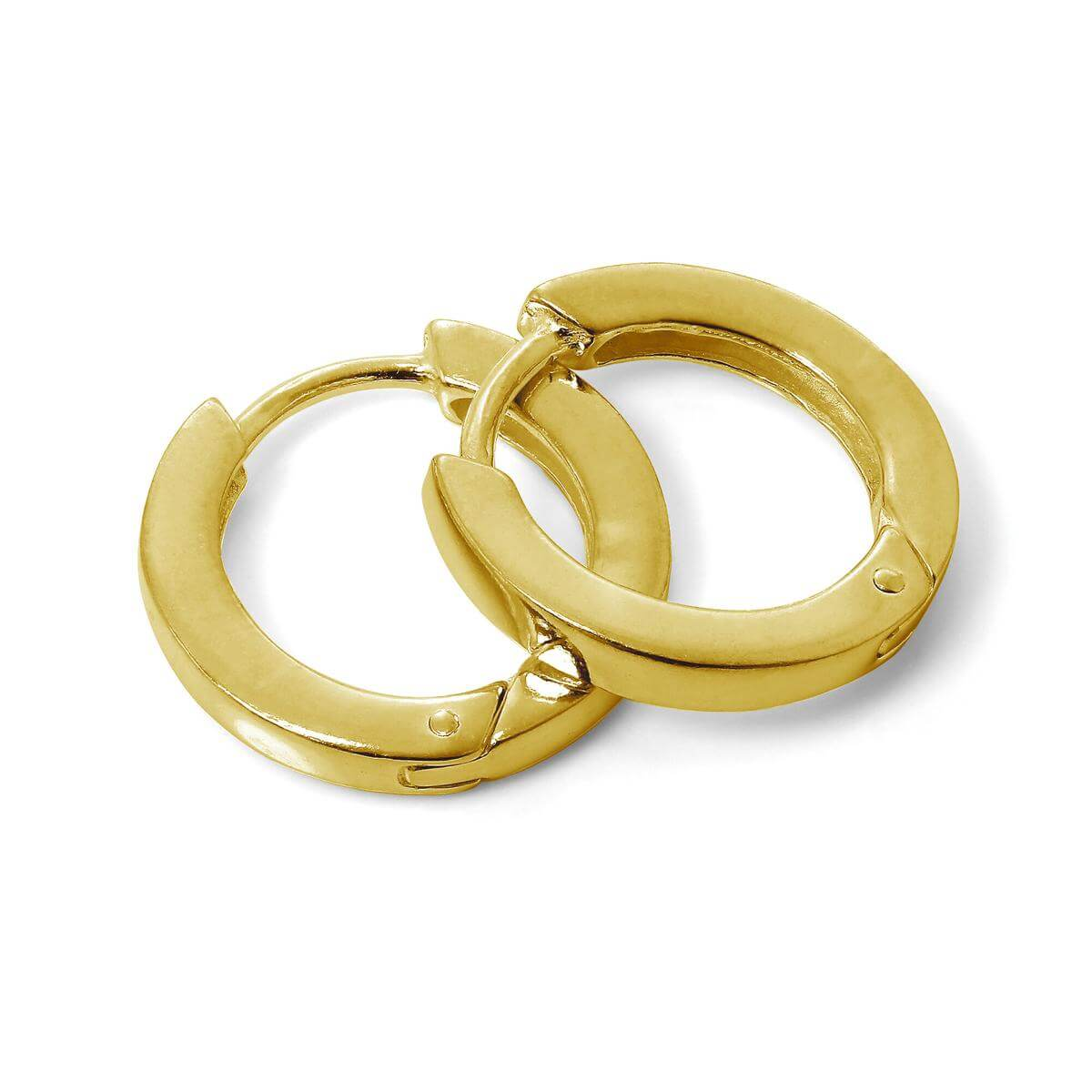 Gold Plated Sterling Silver Hinged 16mm Huggie Hoop Earrings