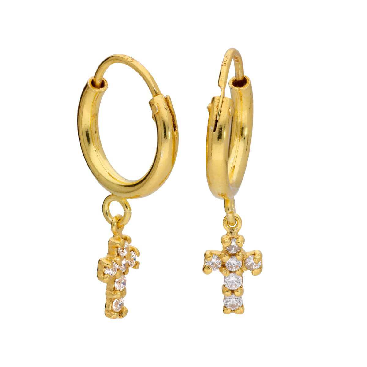 Gold Plated Sterling Silver 12mm Hoop Earrings & CZ Cross
