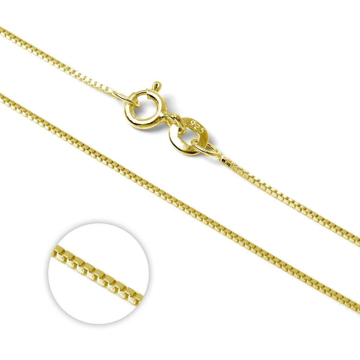 Gold Plated Sterling Silver Box Chain 16 Inches