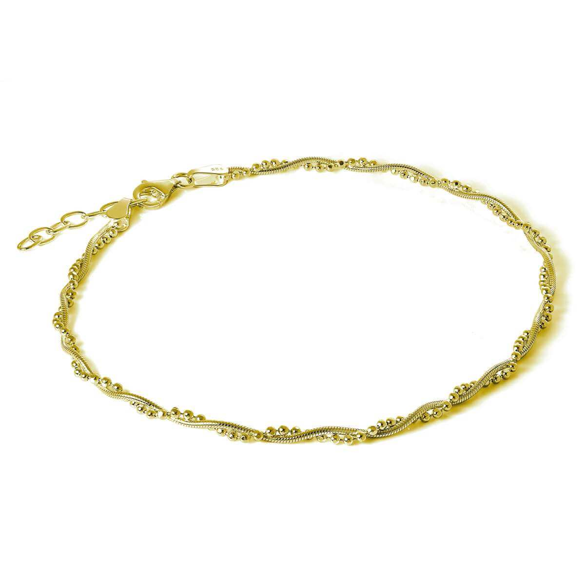 Gold Plated Sterling Silver Snake & Bead Twisted Chain Anklet