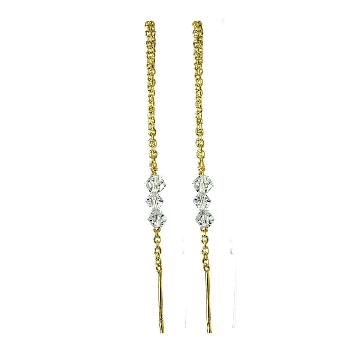 Gold Plated Sterling Silver Triple CZ Pull Through Earrings
