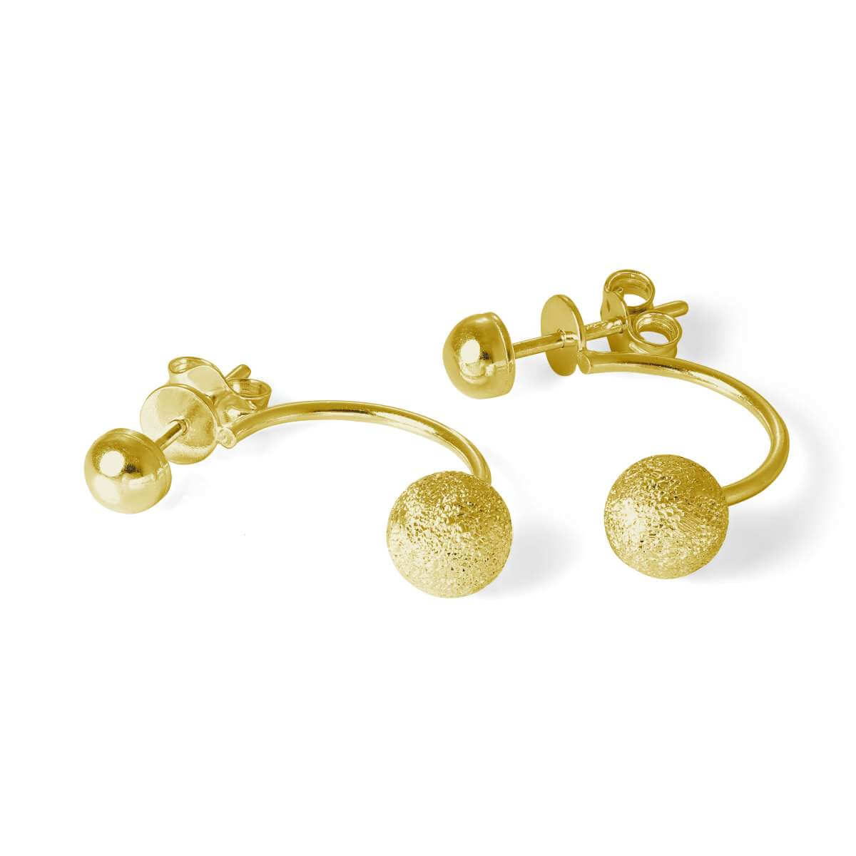 Gold Plated Sterling Silver Frosted Ball Ear Jacket Earrings
