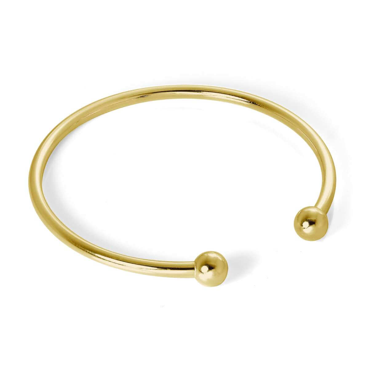 Gold Plated Sterling Silver Adult 65mm Hollow Torque Bangle