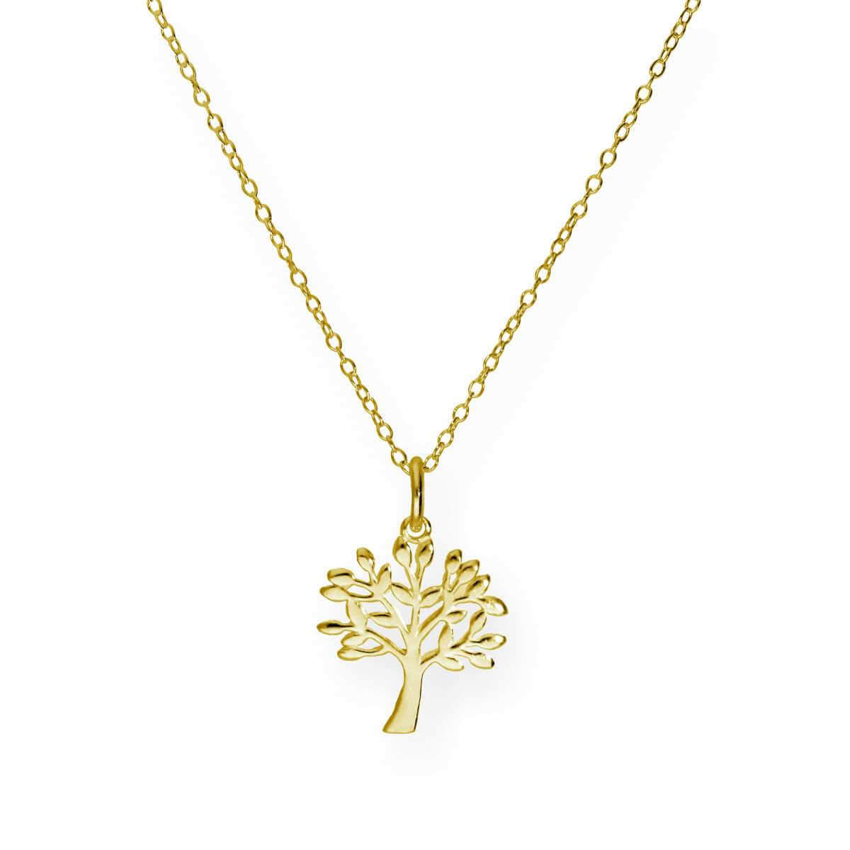 Gold Plated Sterling Silver 18 Inch Oak Tree Necklace