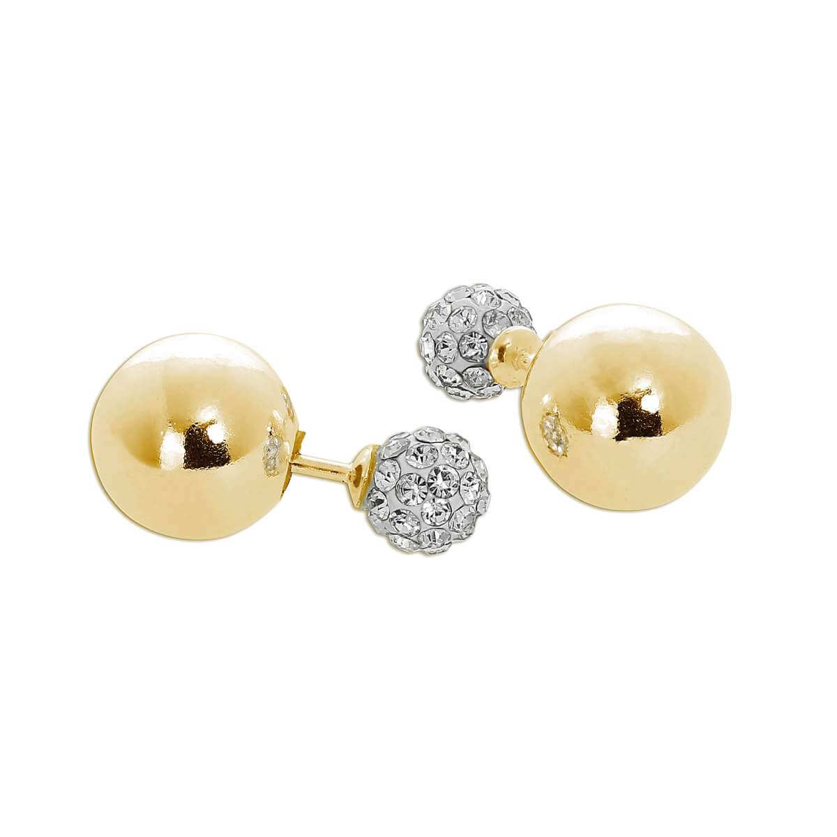 Gold Plated Sterling Silver Double Sided Plain & CZ Ball Stud Earrings