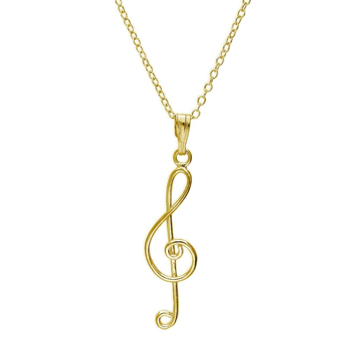 Gold Plated Sterling Silver Treble Clef Necklace 18 Inches