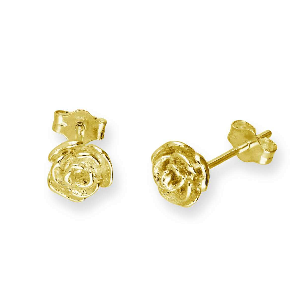 Gold Plated Sterling Silver Rose Bud Stud Earrings