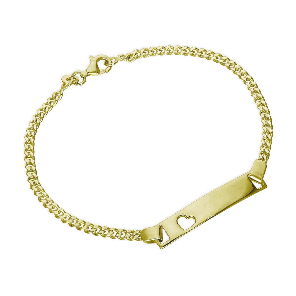 Gold Plated Sterling Silver Engravable ID Bracelet 6 Inches