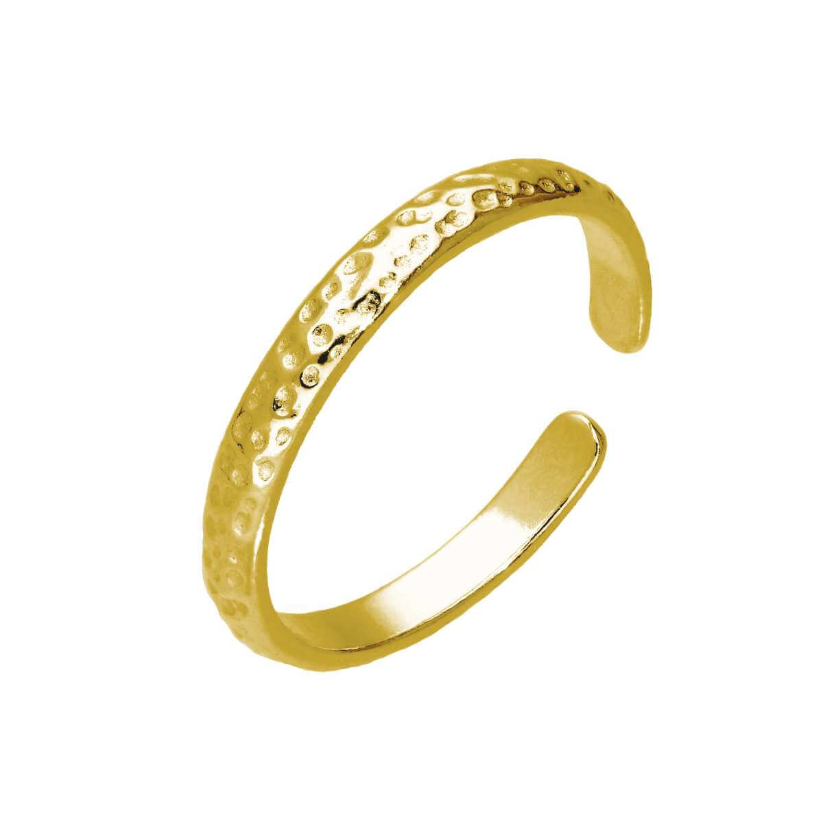 Gold Plated Sterling Silver Hammered Adjustable Toe Ring