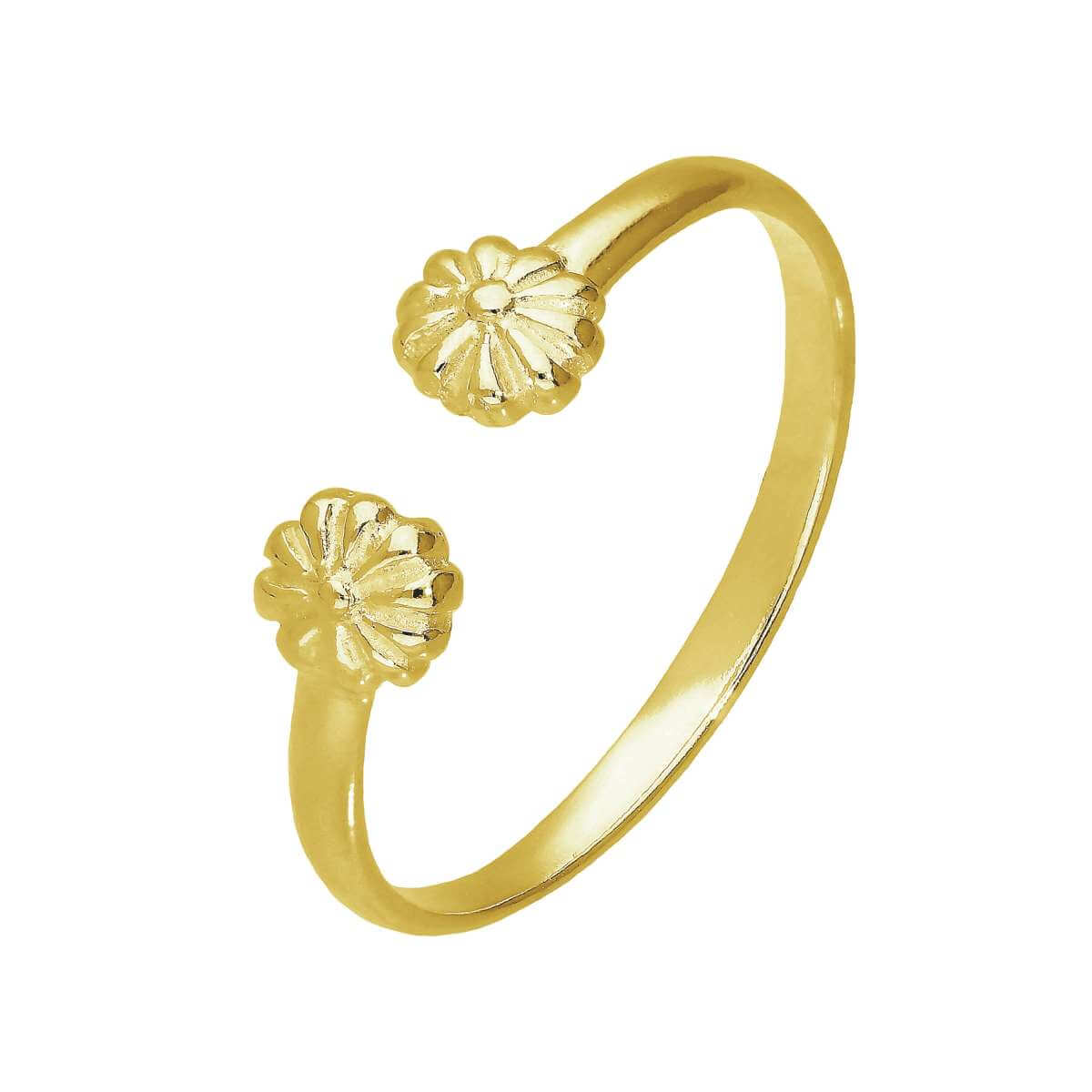 Gold Plated Sterling Silver Flowers Adjustable Toe Ring