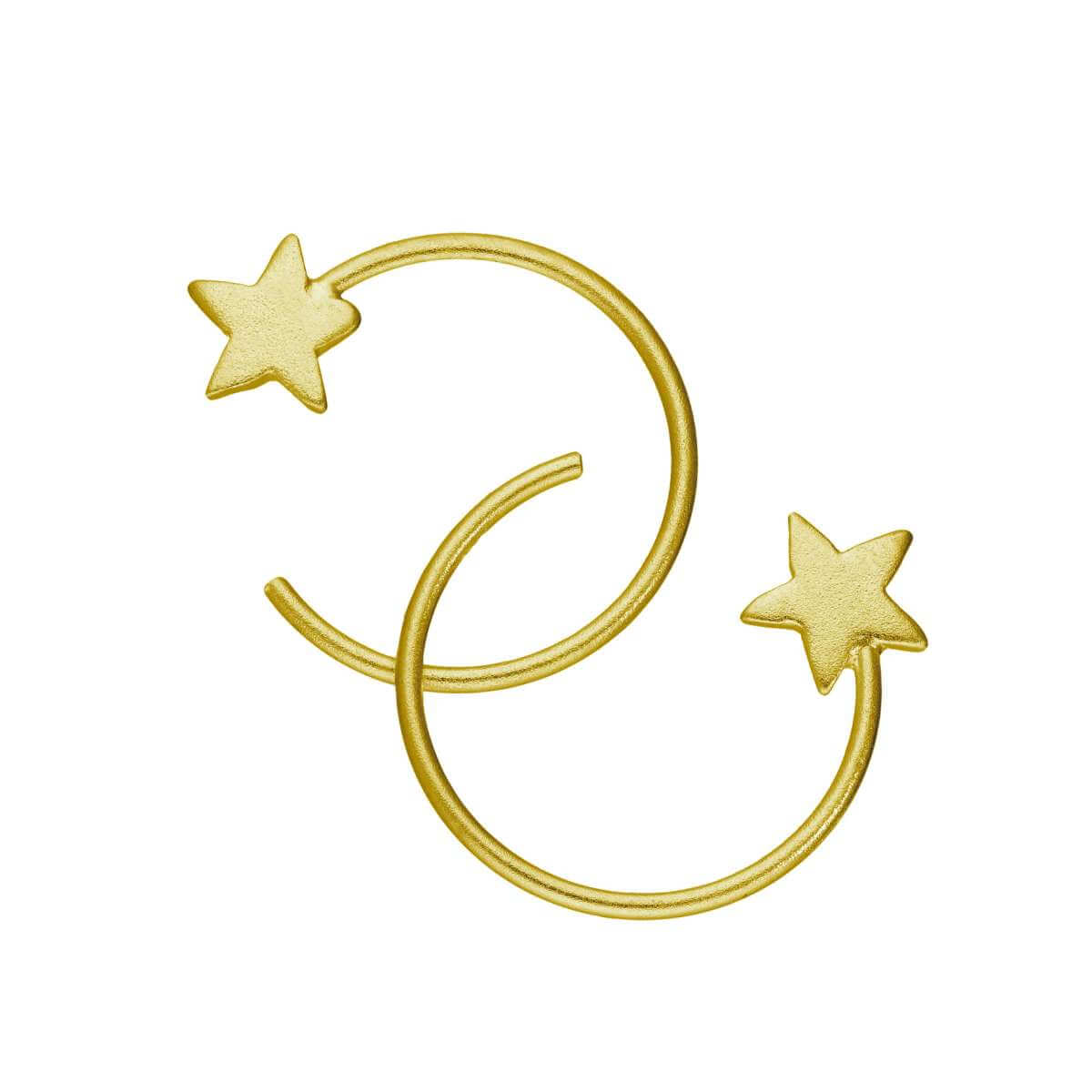 Gold Plated Sterling Silver Star Pull Through Earrings