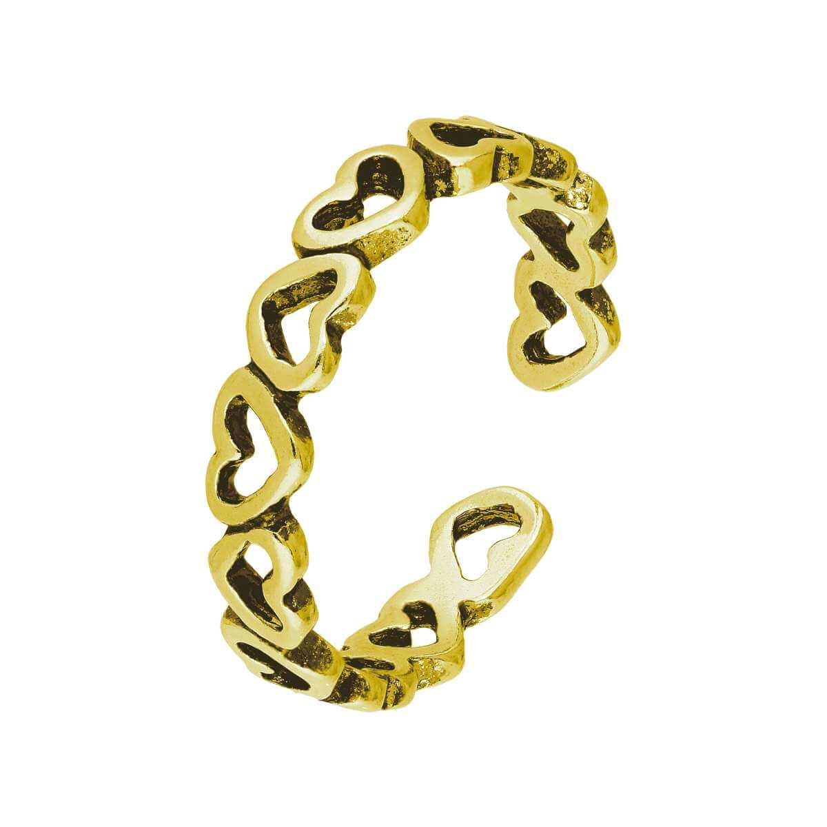 Gold Plated Sterling Silver Hearts Toe Ring