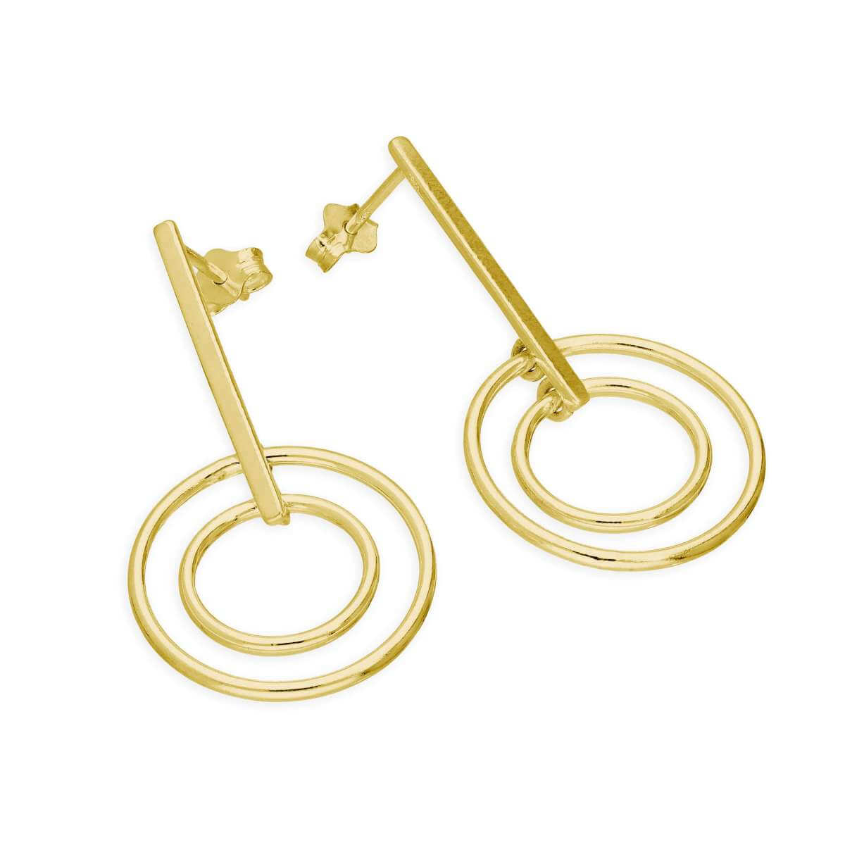 Gold Plated Sterling Silver Bar & Circles Drop Stud Earrings