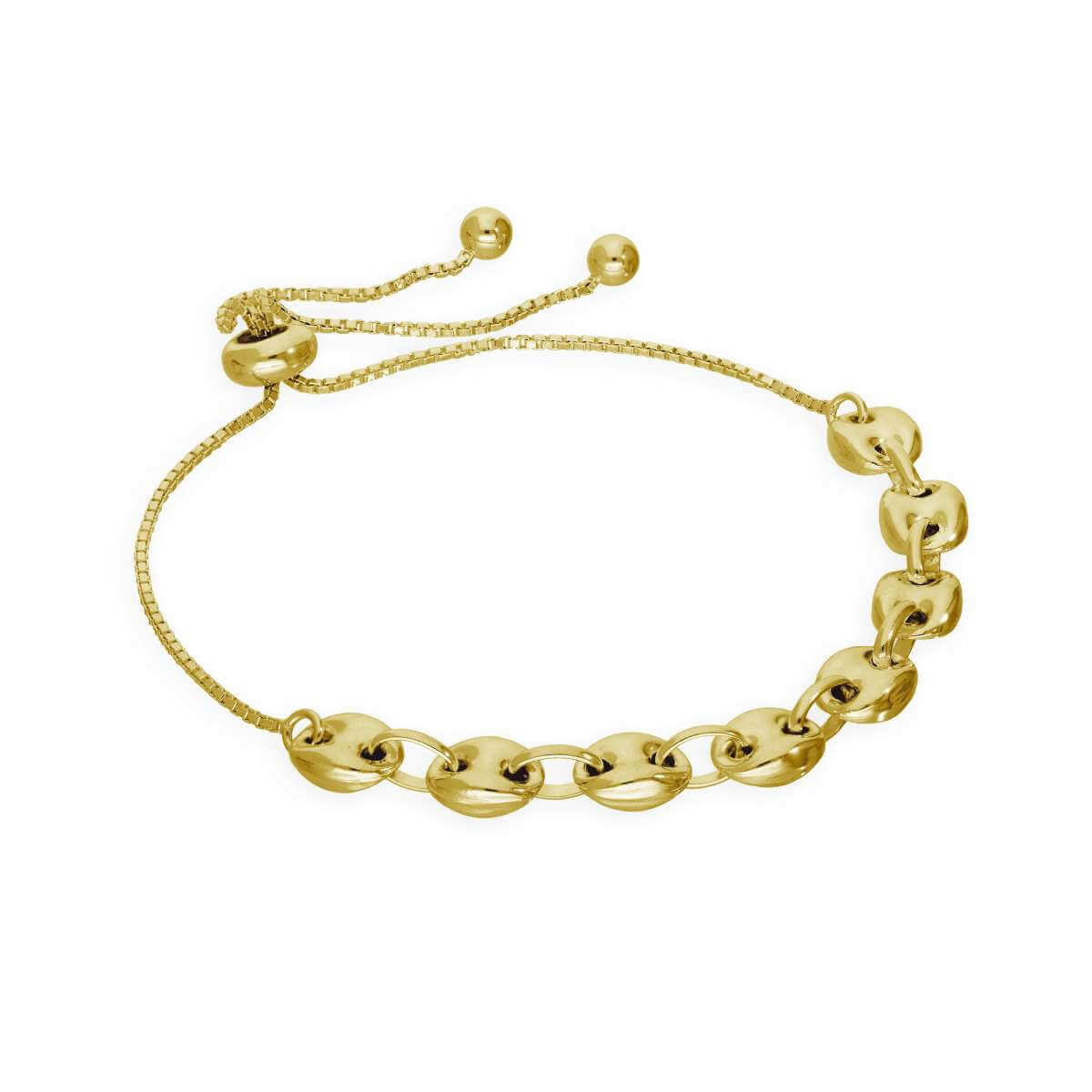 Gold Plated Sterling Silver Beaded Box Adjustable Bracelet