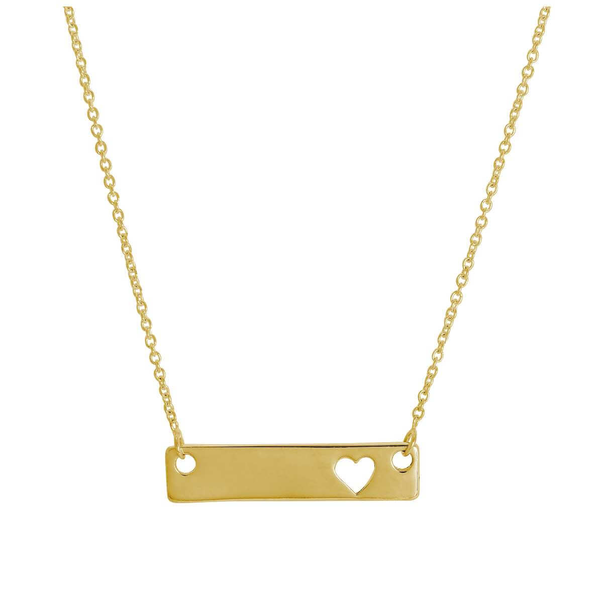 Gold Plated Sterling Silver Engravable Heart Bar Necklace 17 Inch