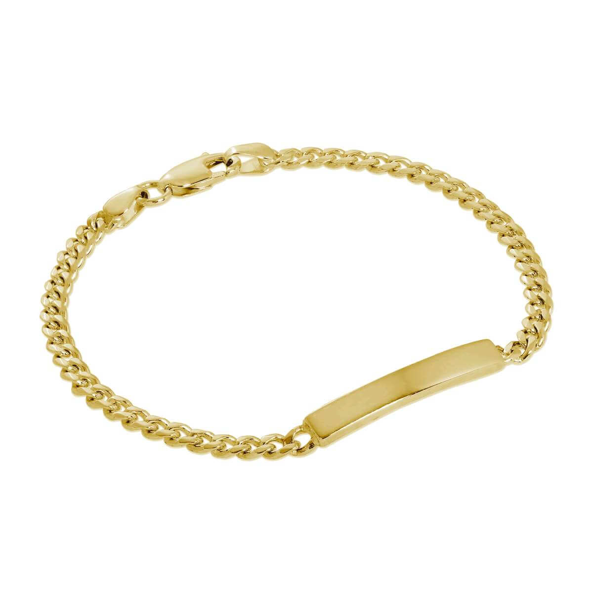 Gold Plated Sterling Silver 3mm Curb ID Bracelet 7 Inches