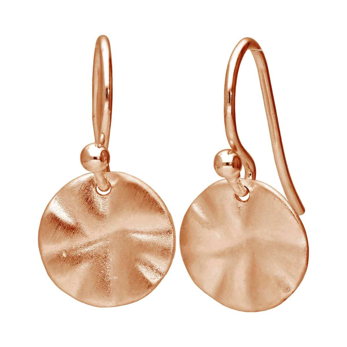 Rose Gold Plated Sterling Silver Hammered Disc Drop Earrings