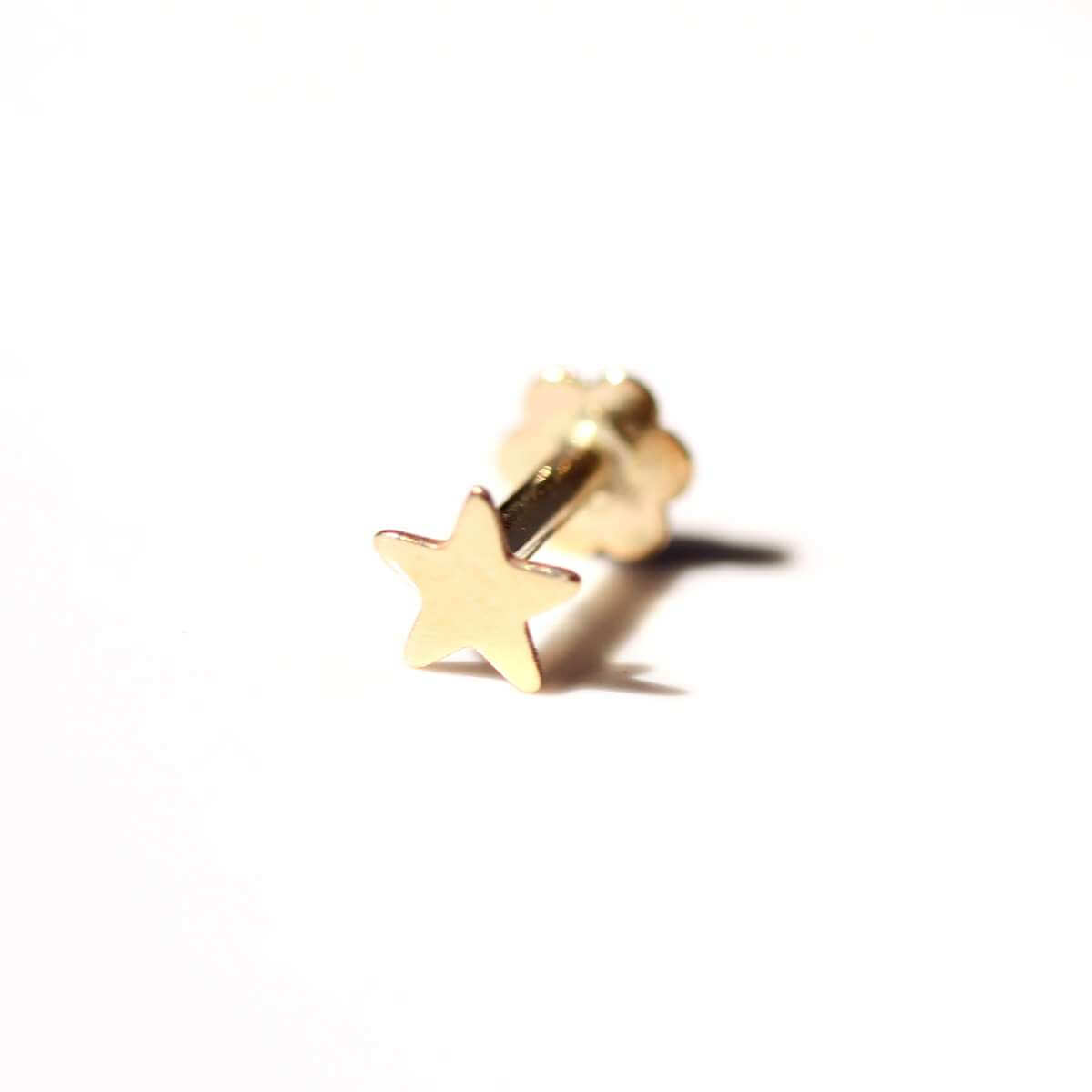 9ct Gold Star Labret Cartilage Piercing