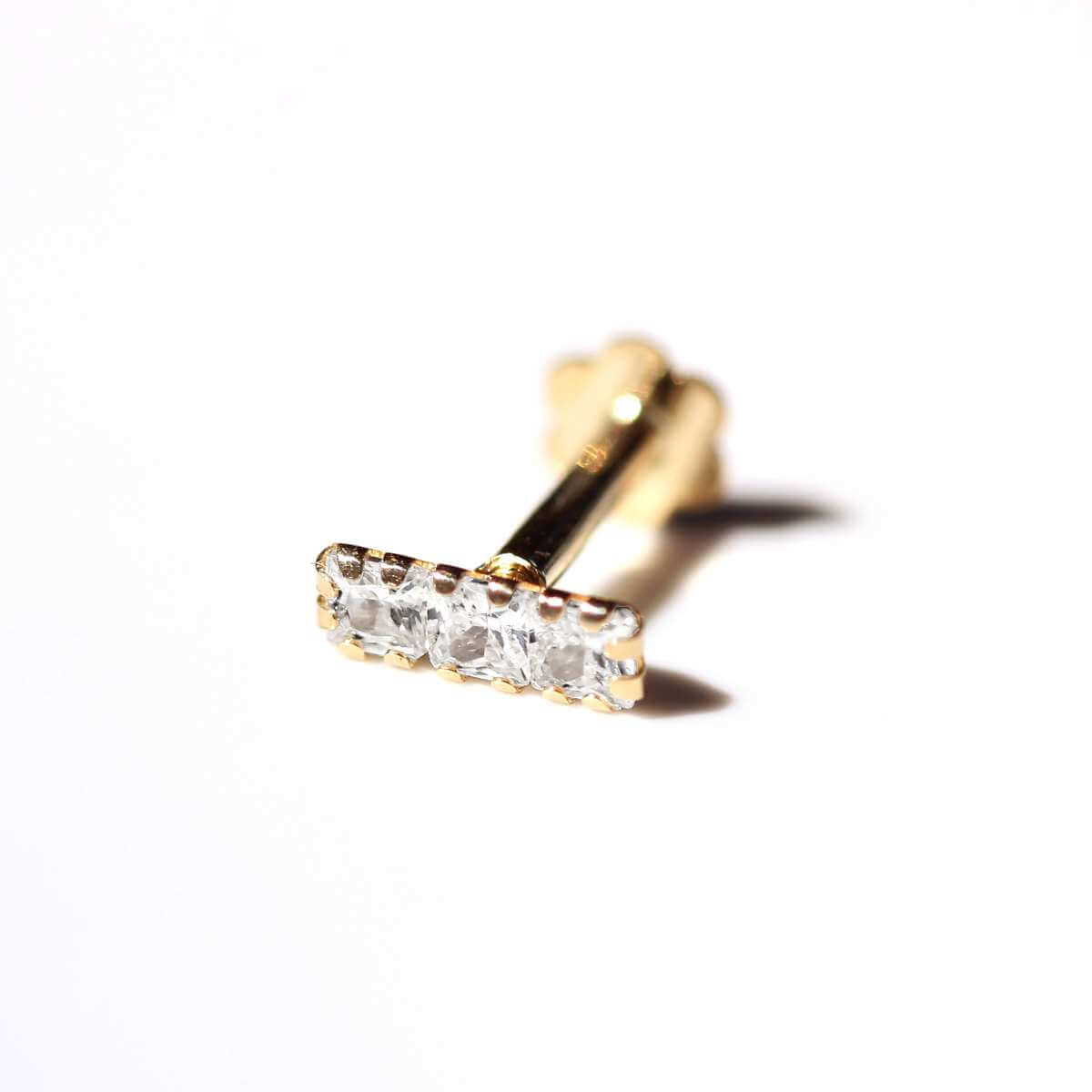 9ct Gold Triple Square Clear CZ Labret Cartilage Piercing
