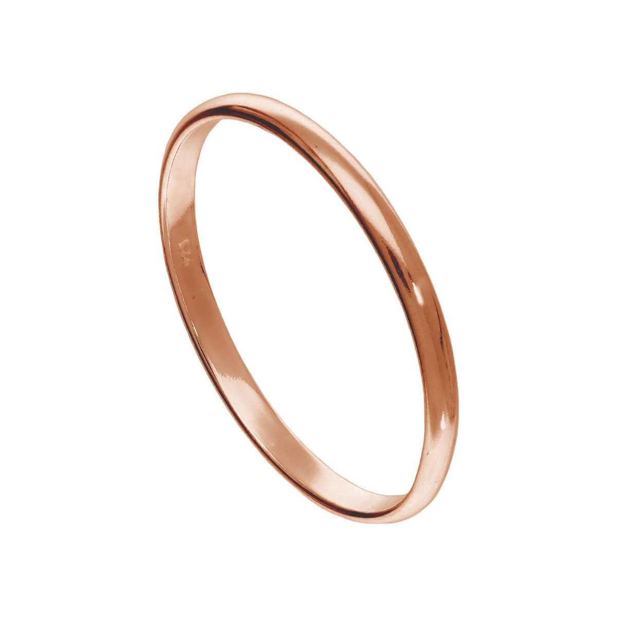 X Large Rose Gold Plated Sterling Silver 2mm D Shaped Stacking Ring