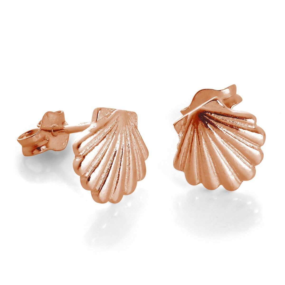 Rose Gold Plated Sterling Silver Sea Shell Stud Earrings