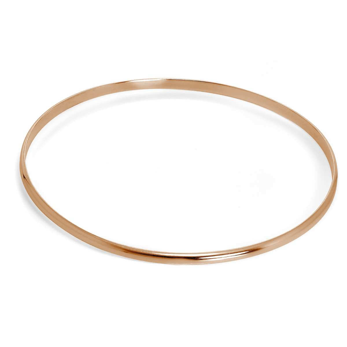 Rose Gold Plated Simple Sterling Silver Plain 3mm Bangle