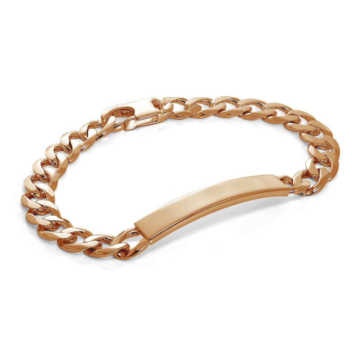 Rose Gold Plated Heavy Curb Sterling Silver 8 Inch Engravable ID Bracelet