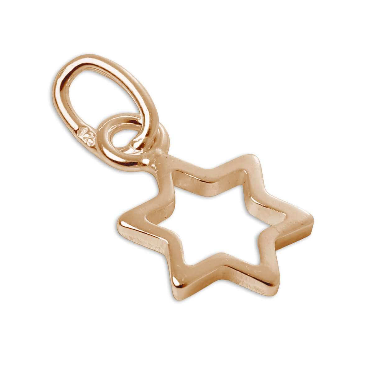 Tiny Rose Gold Plated Sterling Silver Outline Star Charm